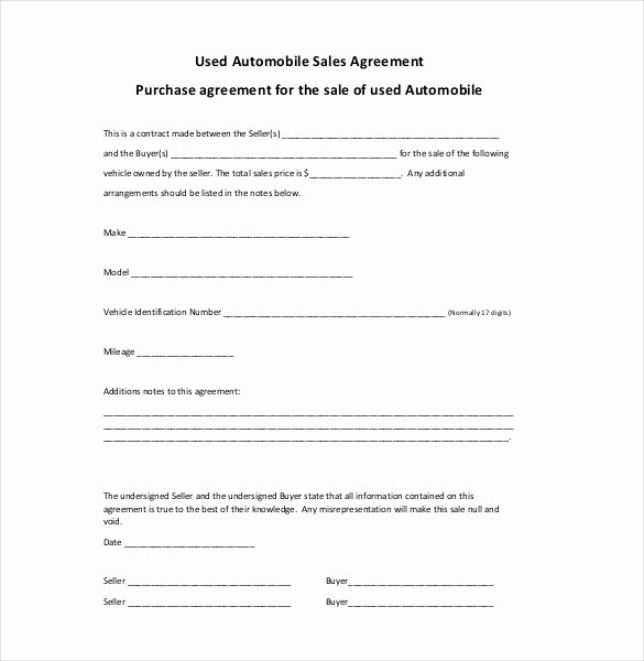 Sales Agreement Template Word Fresh Sales Agreement Template Word