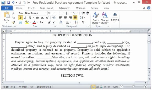 Sales Agreement Template Word Inspirational Free Residential Purchase Agreement Template for Word