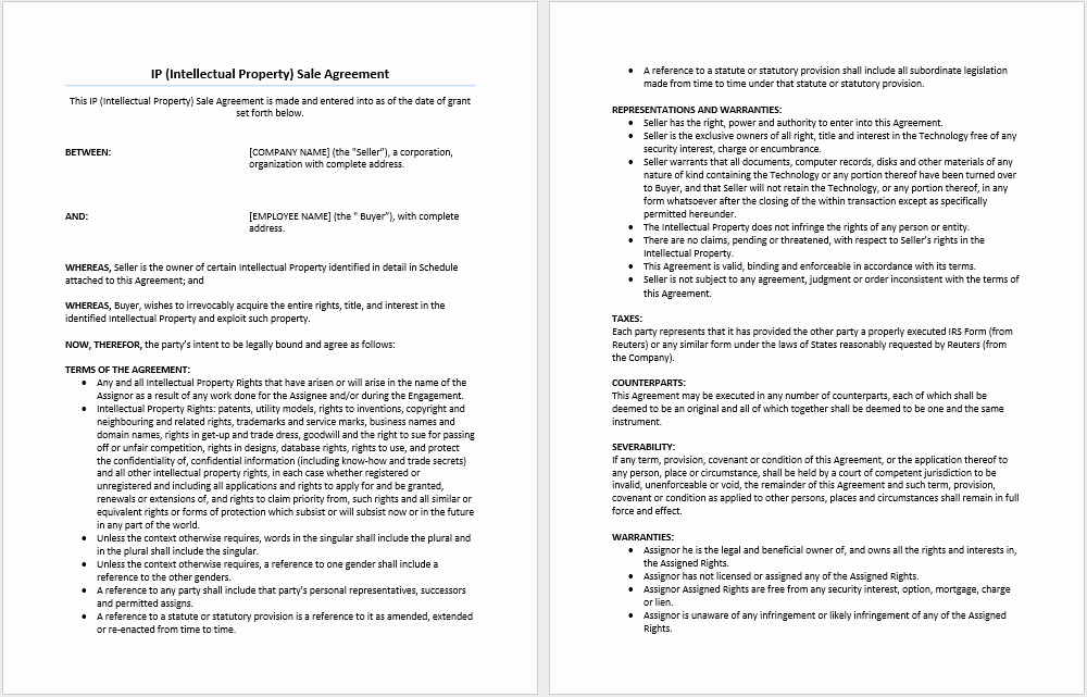 Sales Agreement Template Word Inspirational Intellectual Property Sale Agreement Template Microsoft