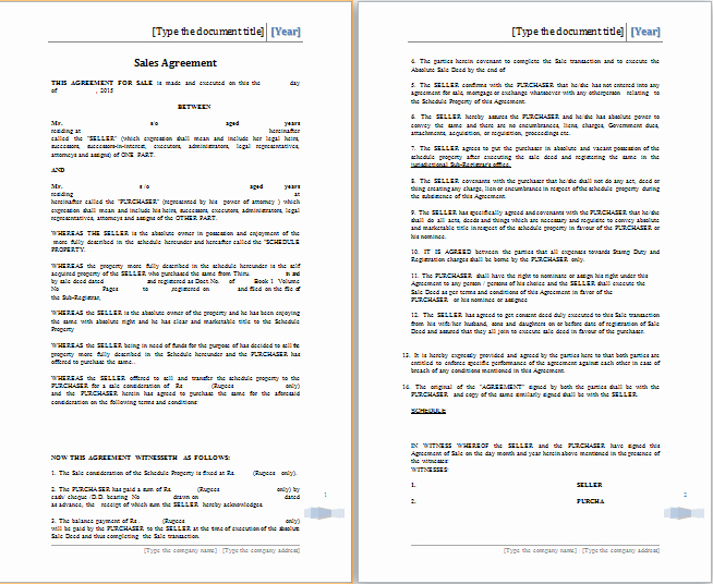 Sales Agreement Template Word Inspirational Sales Agreement Template Word
