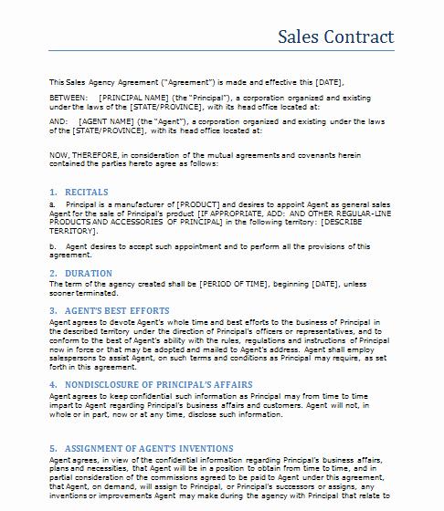 Sales Agreement Template Word Luxury Sales Contract Template Word Templates