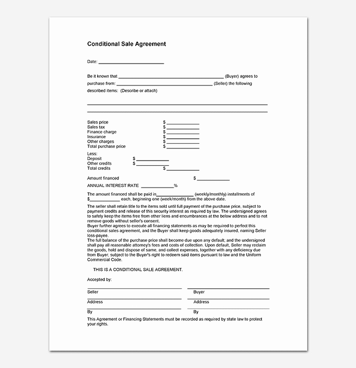 Sales Agreement Template Word Unique Conditional Sale Agreement 17 Samples Examples & Templates