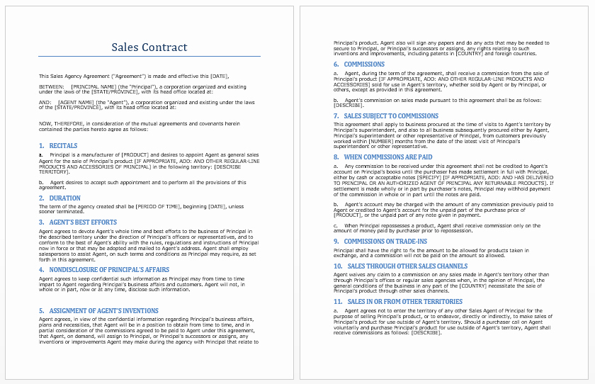 Sales Agreement Template Word Unique Sales Contract Template Microsoft Word Templates