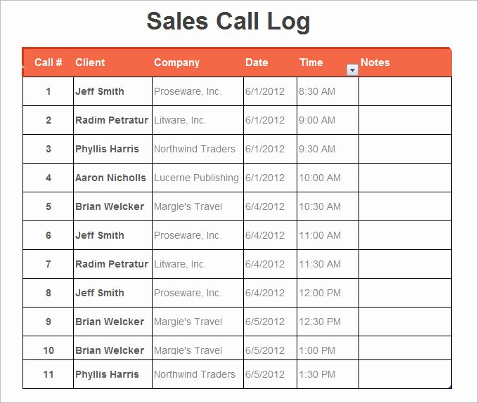 Sales Call Log Template Awesome 16 Log Templates Free Word Excel Pdf