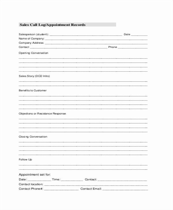 Sales Call Log Template Awesome 17 Call Log Templates In Pdf