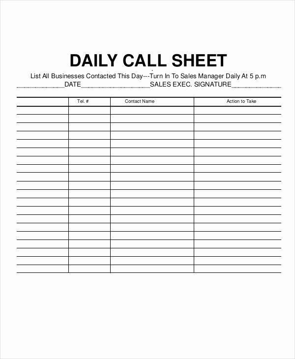 Sales Call Log Template Elegant Call Log Sheet Template 11 Free Word Pdf Excel