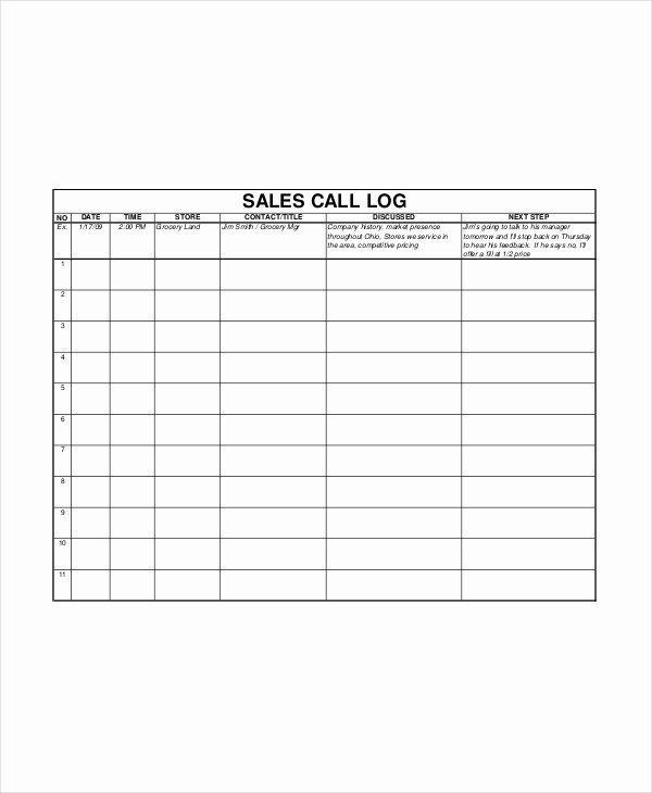 Sales Call Log Template Inspirational Sales Log Template 5 Free Word Documents Download