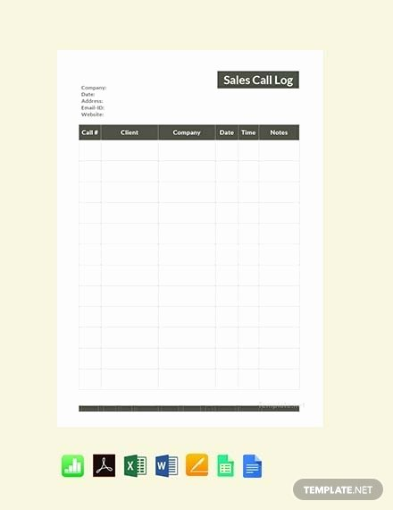 Sales Call Log Template Luxury Free Simple Call Logs Template Download 483 Sheets In