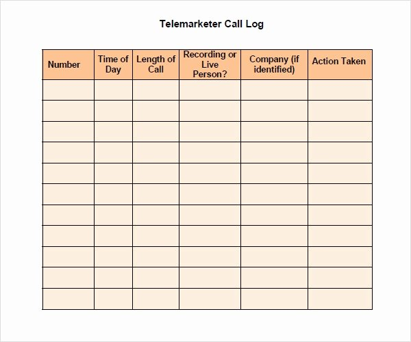 Sales Call Log Template New Free 11 Sample Call Log Templates In Pdf Word