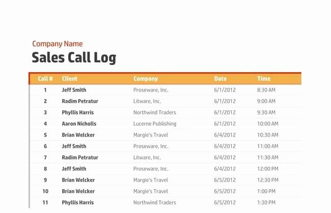 Sales Call Log Template New Printable Call Log Templates