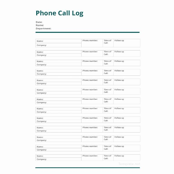 Sales Call Log Template Unique 13 Call Log Template