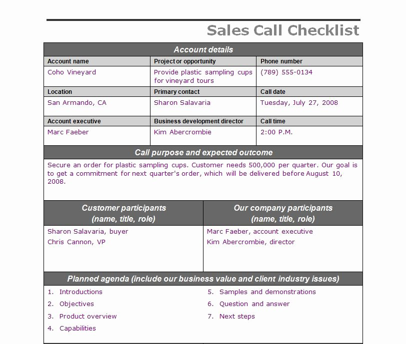 Sales Call Report Template Excel Awesome Sales Call Checklist