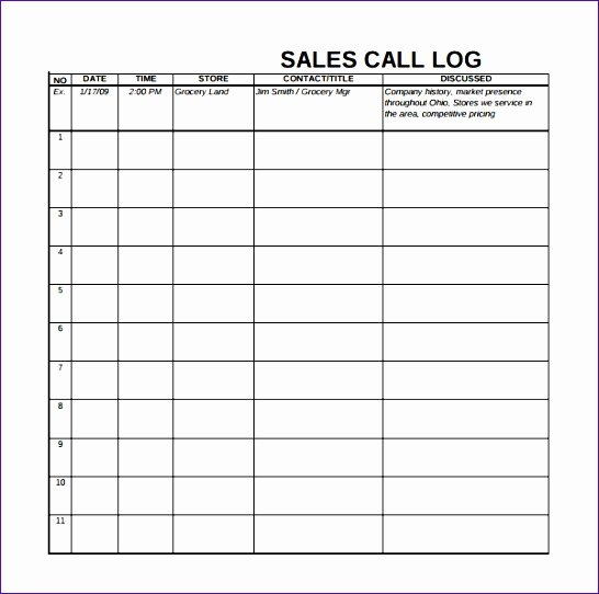 Sales Call Report Template Excel Luxury Call Log Template