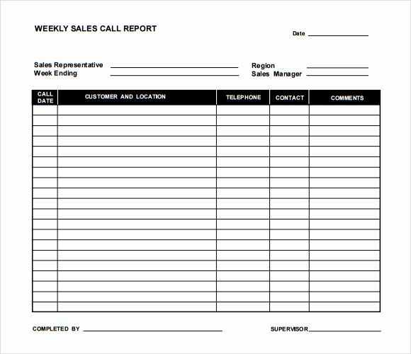 Sales Call Report Template Excel New Sample Sales Call Report Template 6 Documents In Pdf