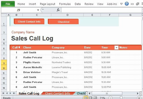 Sales Calls Report Template Lovely Sales Call Log organizer for Excel