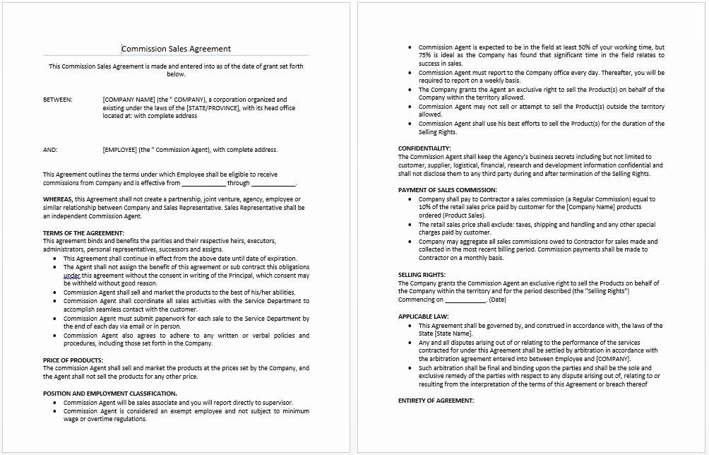 Sales Commission Agreement Template Fresh 30 Last Sales Mission Agreement Doc Oe A