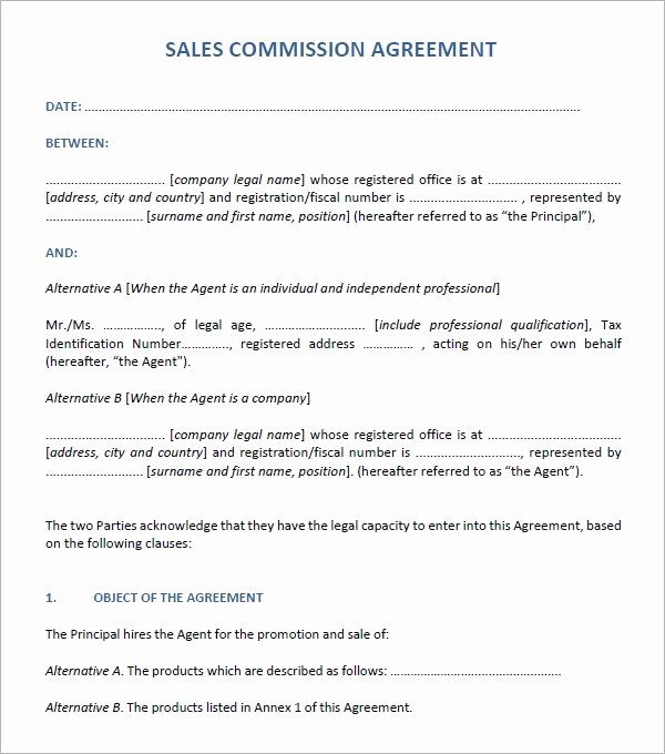 Sales Commission Agreement Template Inspirational Sales Agreement 6 Free Pdf Doc Download