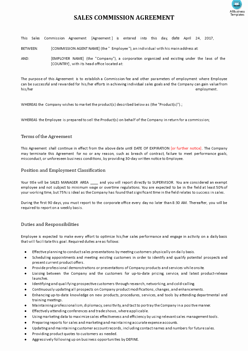 Sales Commission Agreement Template Inspirational Sales Mission Agreement Download This Sales