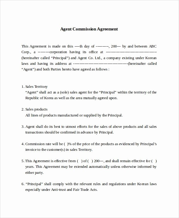Sales Commission Agreement Template New 9 Mission Sales Agreement Templates Word Pdf Pages