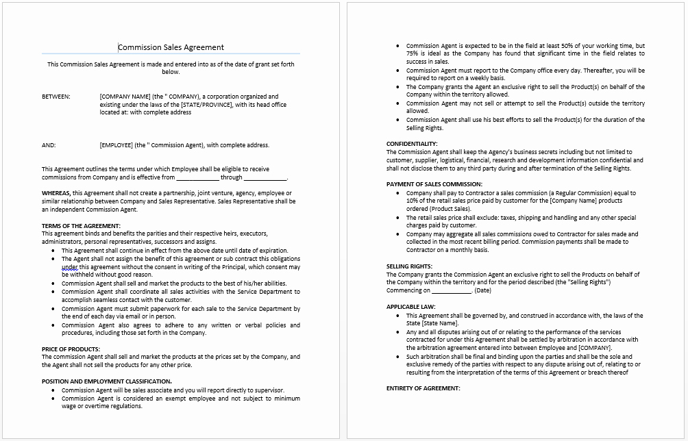 Sales Commission Agreement Template Unique Mission Sales Agreement Template Microsoft Word Templates