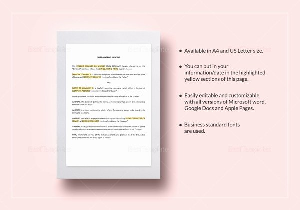 Sales Contract Template Word Awesome 23 Sales Contract Templates Word Pdf Google Docs