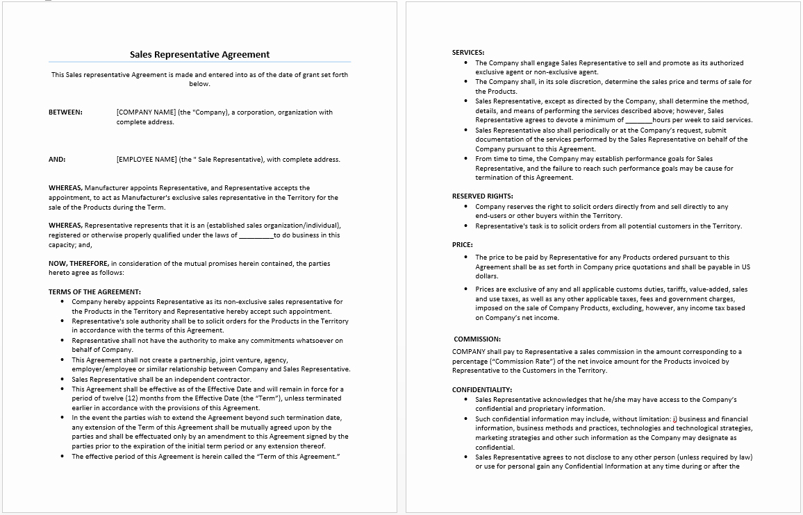 Sales Contract Template Word Beautiful Sales Representative Agreement Template Microsoft Word