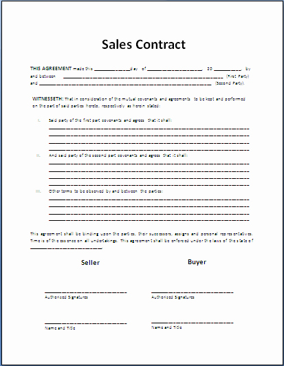 Sales Contract Template Word Fresh Free Printable Sale Contract form Generic