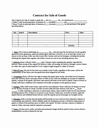 Sales Contract Template Word Inspirational Sales Contract Template Free Download Create Edit Fill