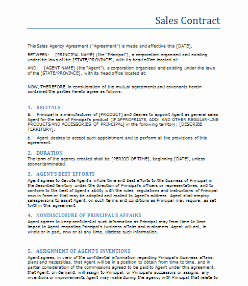 Sales Contract Template Word New Sales Contract Template Word Templates