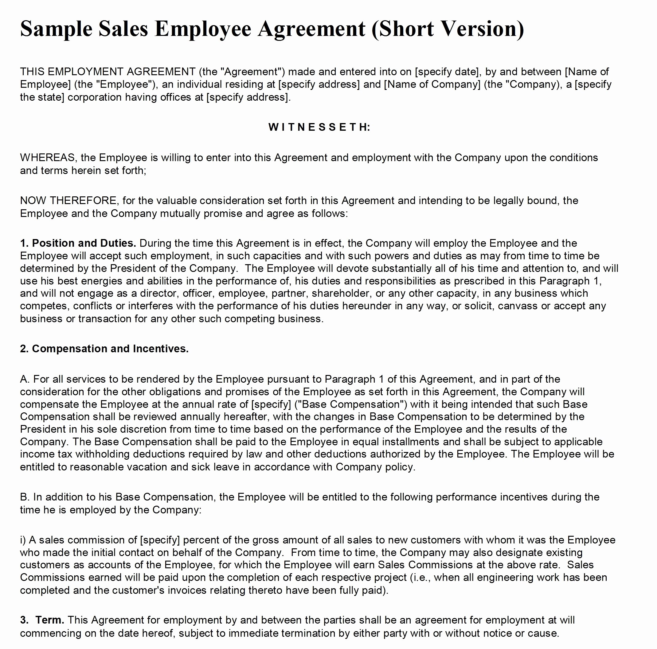 Sales Contract Template Word Unique Sales Contract Template