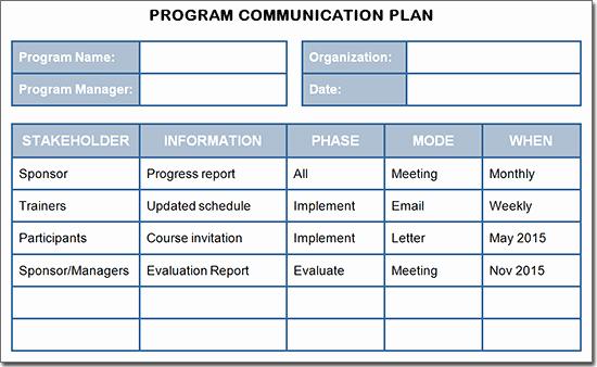 Sample Communication Plan Template Awesome Creating A Training Program Munication Plan
