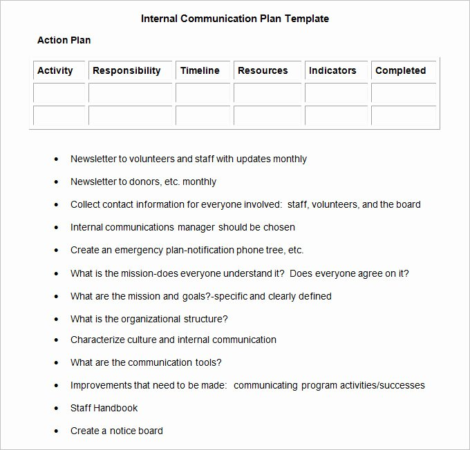 Sample Communication Plan Template Inspirational Internal Munication Plan Template