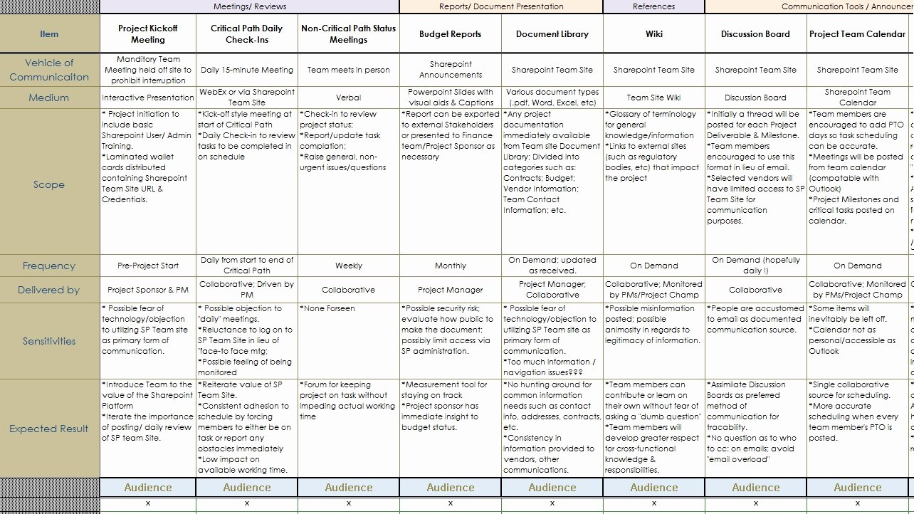 Sample Communication Plan Template Luxury Munication Plan Munication Plan Project