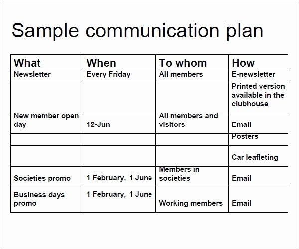 Sample Communication Plan Template Unique Free 17 Samples Of Munication Plan Templates In Pdf