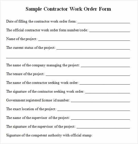 Sample order form Templates Unique Contractor Work order form Free Download for Pdf