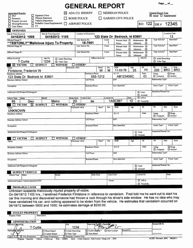 Sample Police Report Template Awesome Police Report Example Template