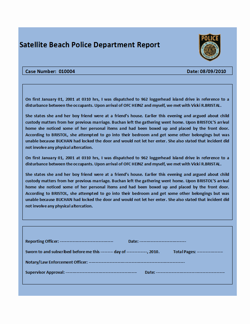 Sample Police Report Template Inspirational top 4 Samples Police Report Templates Word Templates