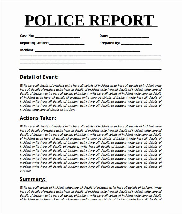 Sample Police Report Template Unique Summary Report Template 10 Free Pdf Word Apple Pages