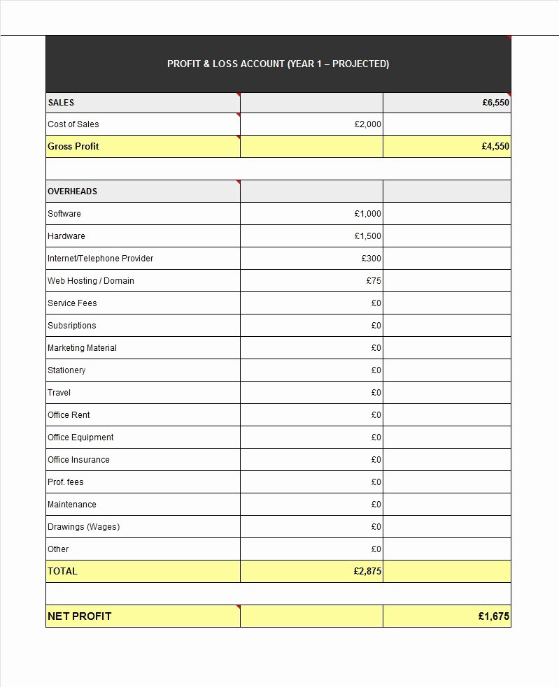 Sample Profit and Loss Template Awesome 38 Free Profit and Loss Statement Templates & forms Free