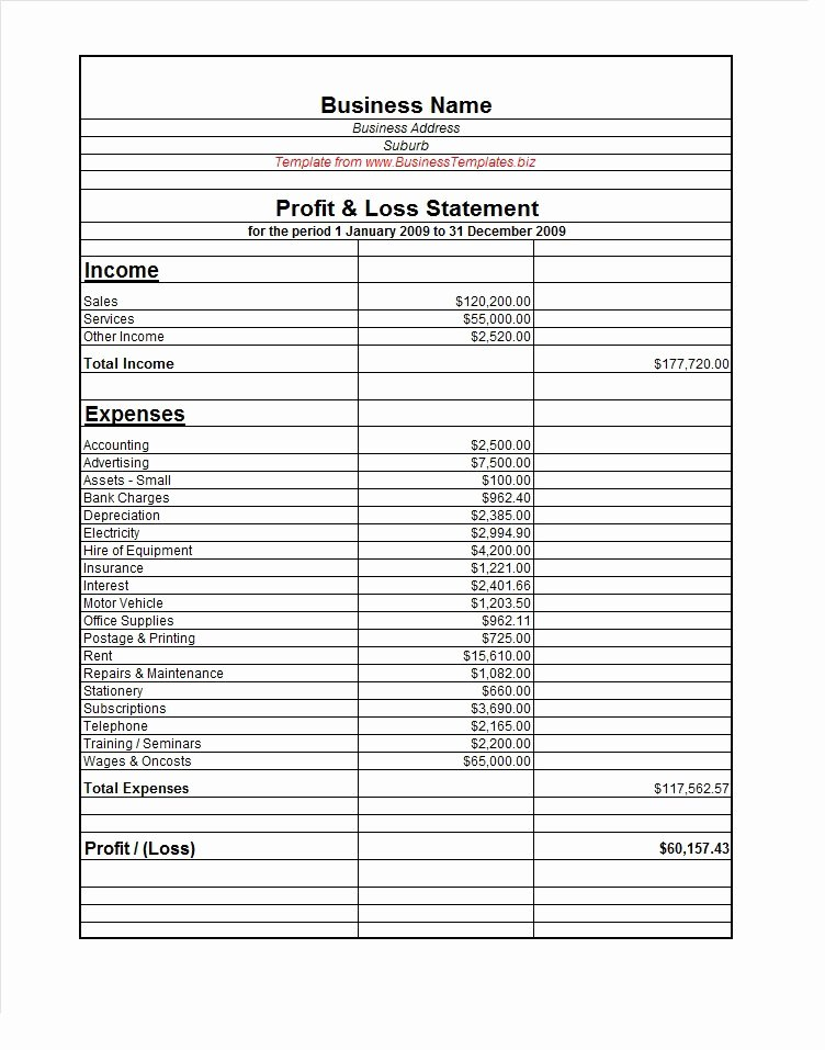 Sample Profit and Loss Template Beautiful 38 Free Profit and Loss Statement Templates & forms Free