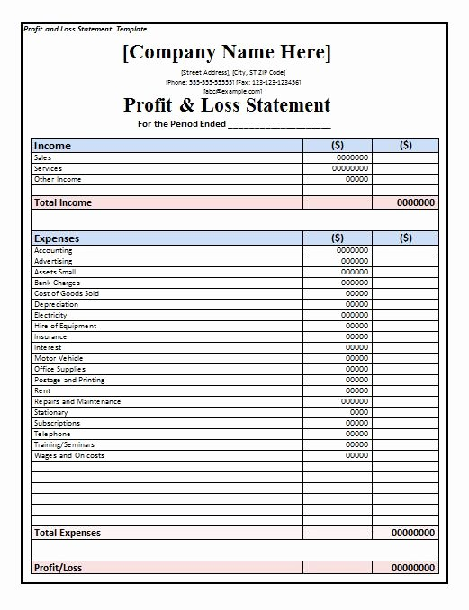 Sample Profit and Loss Template Best Of 35 Profit and Loss Statement Templates & forms