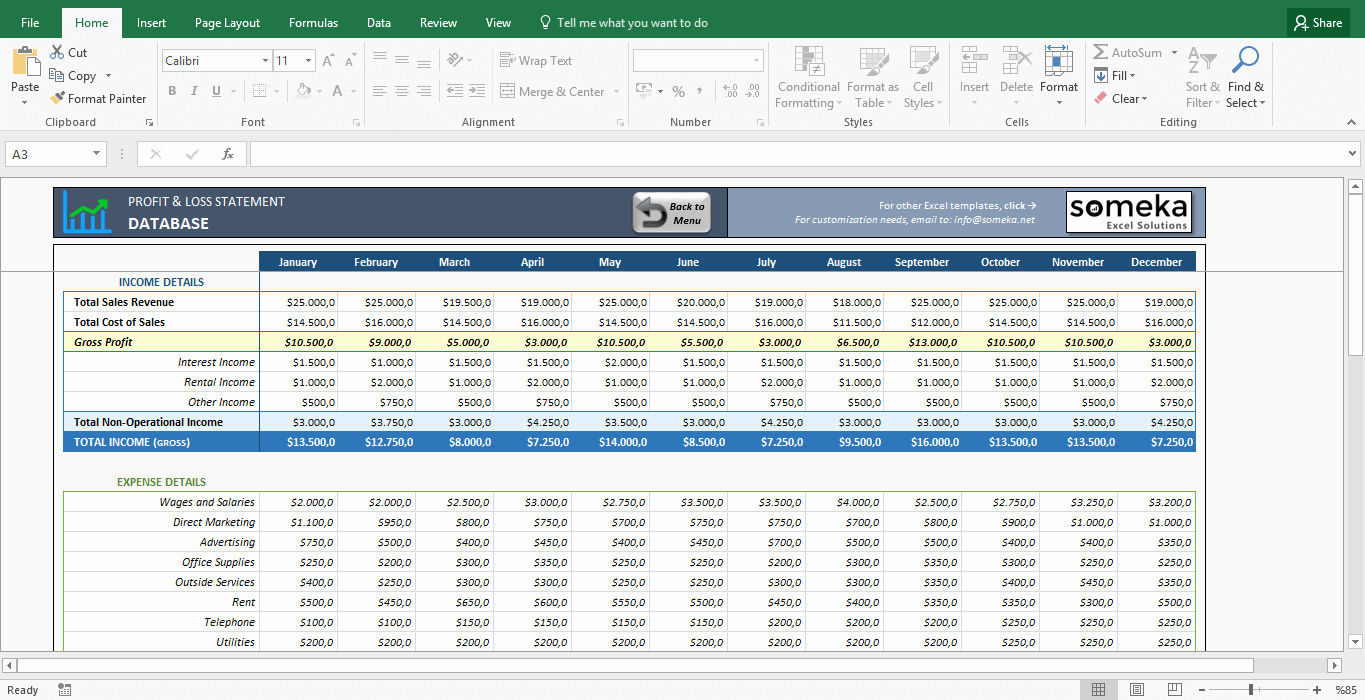 Sample Profit and Loss Template Best Of Profit and Loss Statement Template Free Excel Spreadsheet