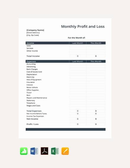 Sample Profit and Loss Template Elegant Free 21 Sample Profit and Loss Templates In Google Docs