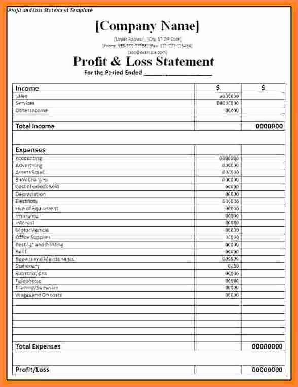 Sample Profit and Loss Template Elegant Image Result for Profit and Loss Statement Self Employed