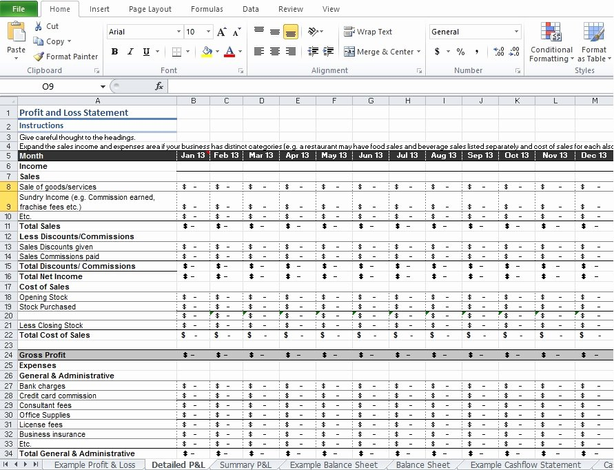 Sample Profit and Loss Template New Restaurant Profit and Loss Statement Template Excel