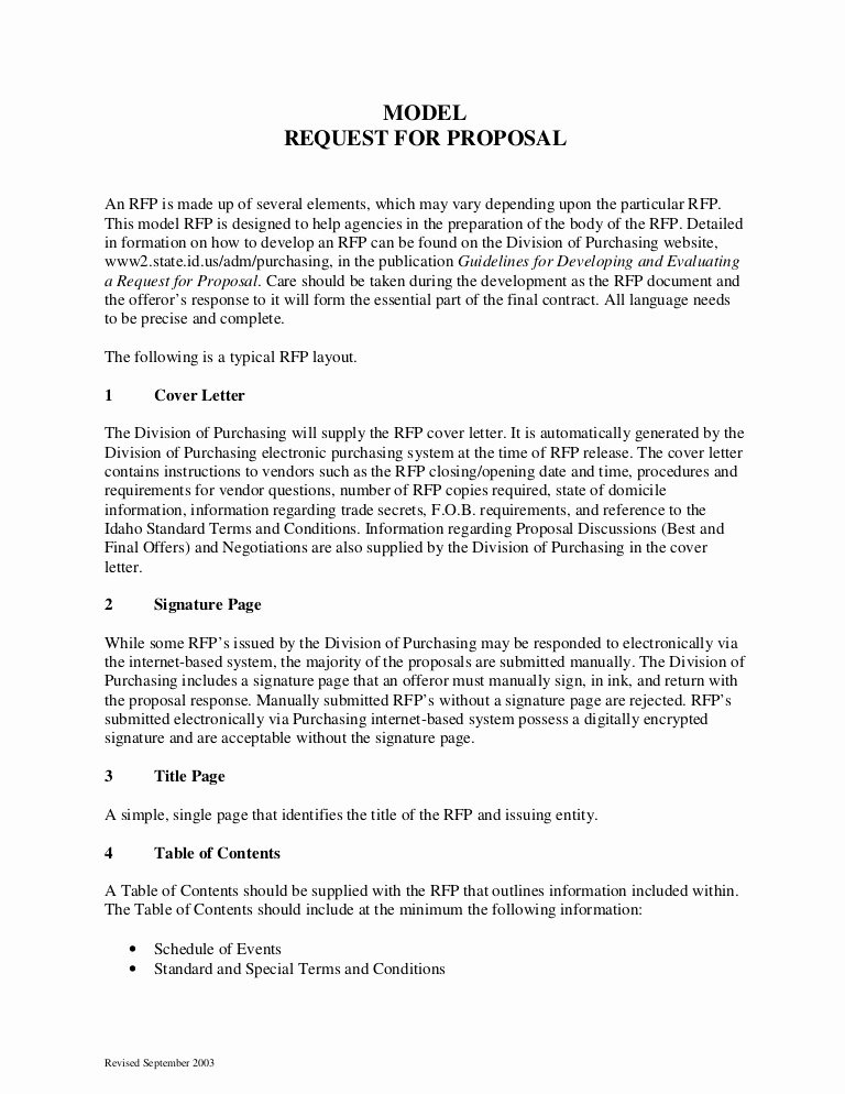 Sample Rfp Response Template Inspirational Sample Request for Proposal format