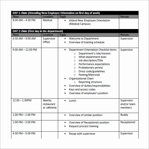 Sample Training Plan Template Luxury Employee Schedule Template 5 Download Free Documents In