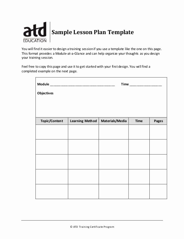 Sample Training Plan Template Unique Sample Lesson Plan Template