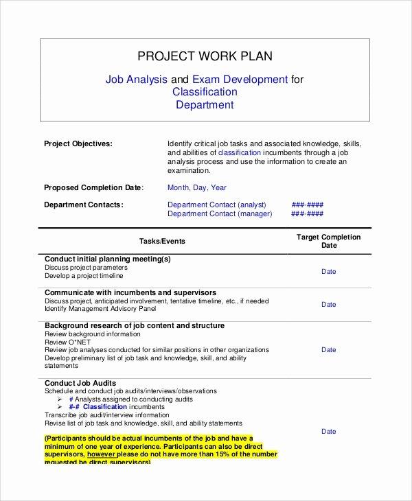 Sample Work Plan Template Best Of Sample Work Plan Template 9 Documents In Word Pdf