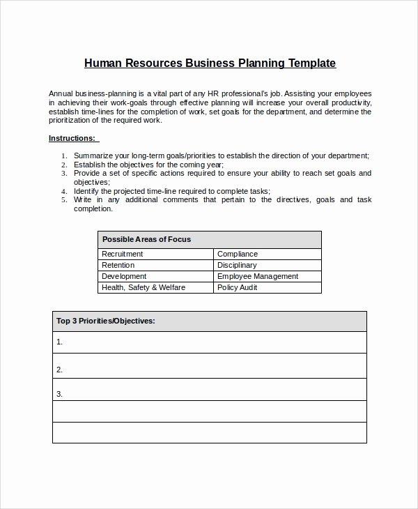 Sample Work Plan Template Elegant Sample Hr Plan 9 Documents In Word Pdf
